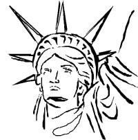 Statue of Liberty Head Coloring Page: Statue of Liberty