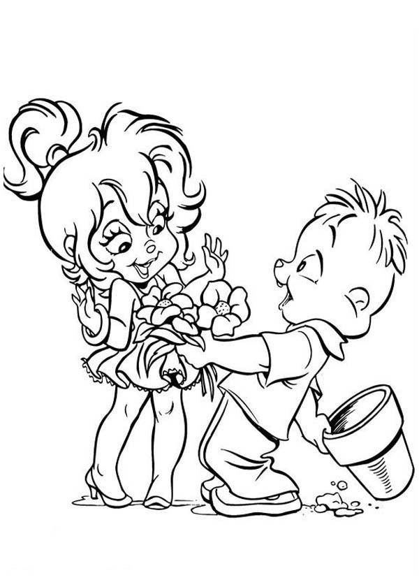 Theodore Give Flower to Brittany The Chipettes Coloring