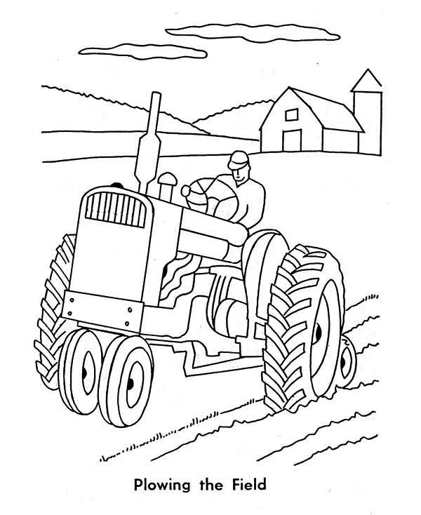 Tractor Plowing Farm Coloring Page: Tractor Plowing Farm