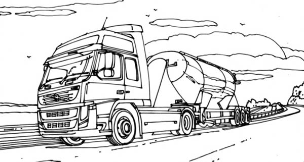 VTN Semi Truck on the Road Coloring Page: VTN Semi Truck