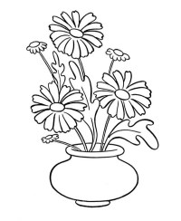 Daisy Flower in Vase Coloring Page: Daisy Flower in Vase ...