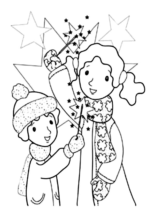 Kids Play with Sparklers and Fireworks Coloring Page: Kids
