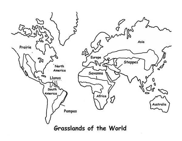 Map Grasslands Outline in World Map Coloring Page