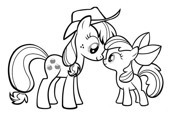 My Little Pony Applejack and Apple Bloom Coloring Page: My
