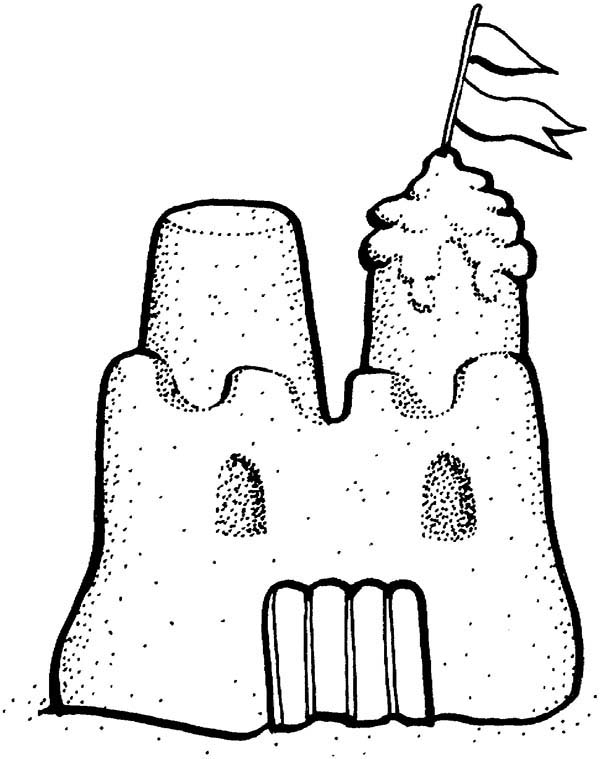 Sand Castle Coloring Pages Sketch Coloring Page