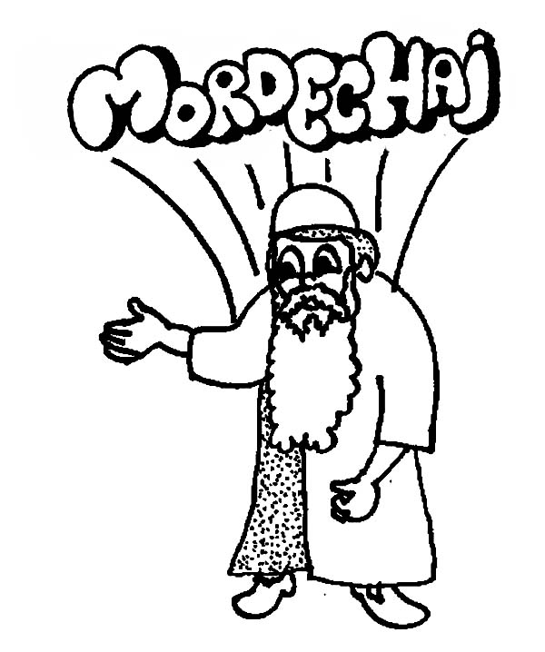 Queen Esther Cousin Mordechai in Purim Coloring Page