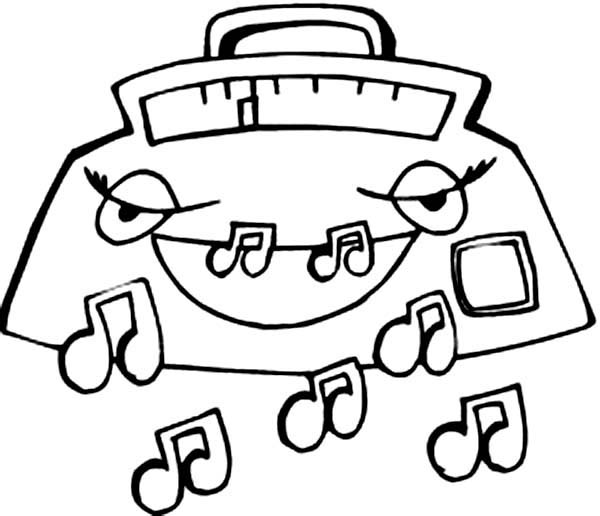 Radio Expelling Music Notes Coloring Page: Radio Expelling