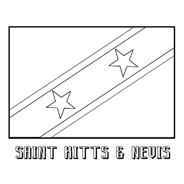 Saint Kitts and Nevis Nation Flag Coloring Page: Saint