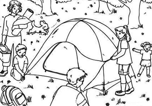 A Family Putting Up the Tent on Summer Camp Coloring Page