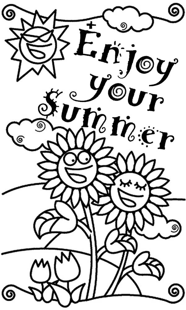 Enjoy Your Summertime Holiday Coloring Page: Enjoy Your