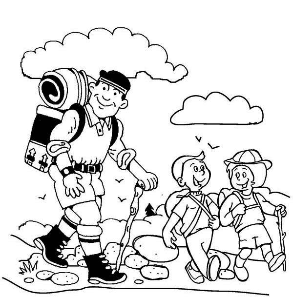 Hiking with My Father on Summer Camp Coloring Page: Hiking