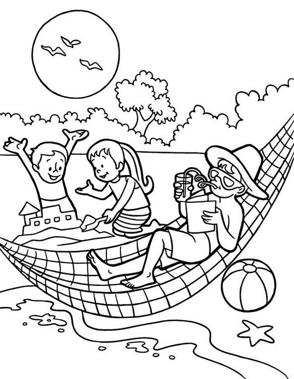 Summertime Holiday on the Beach with All Family Coloring Page