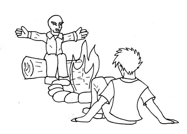 Telling Story Summer Camp Campfire Coloring Page