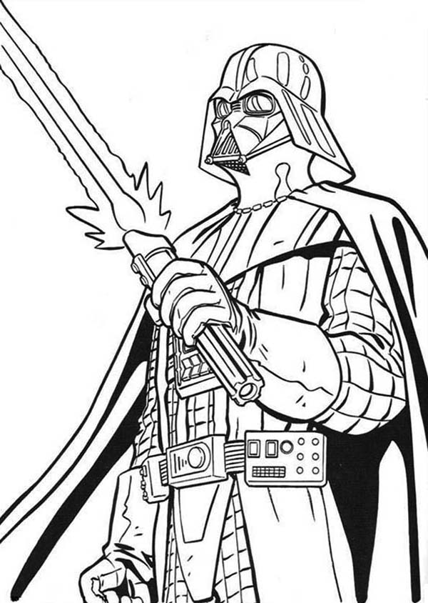 The Terrifying Darth Vader with Light Saber in Star Wars