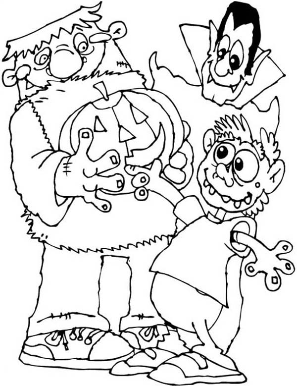 Dracula And Frankenstein Coloring Pages Coloring Pages