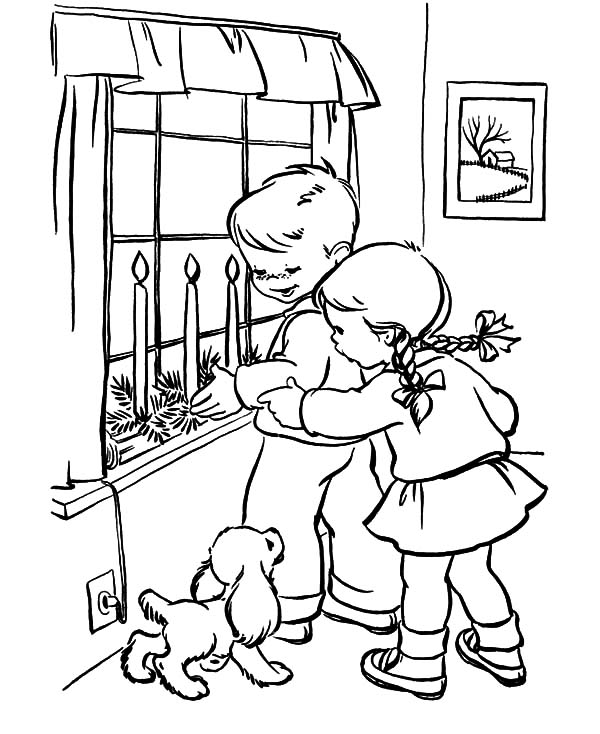 Two Kids Light Christmas Candle in Their House Coloring