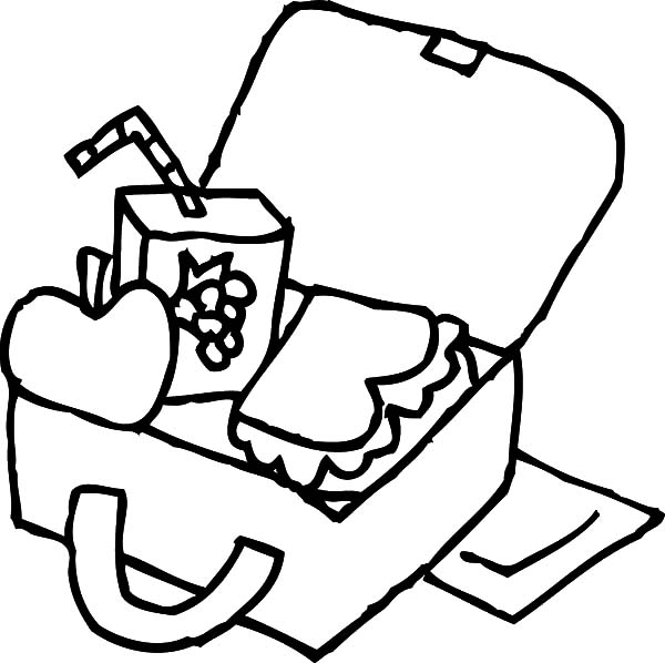 Kindergarten Kid Lunchbox Colouring Pages Coloring Page