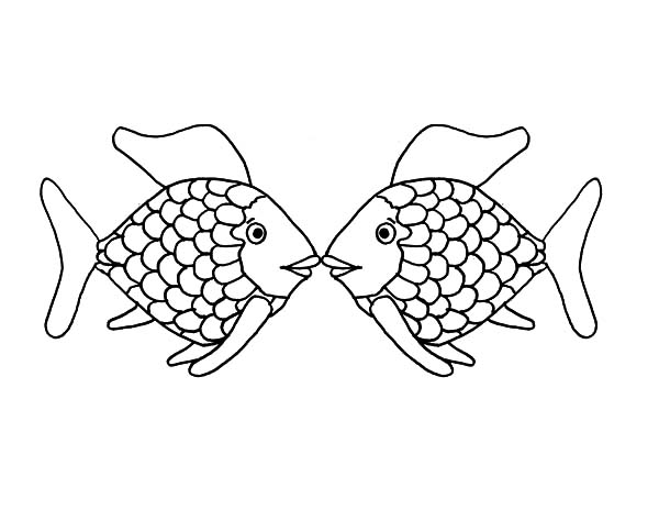 Kissing Fish Coloring Page | 464x600