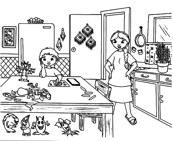 Mother is Upset the Kitchen is Dirty Coloring Pages