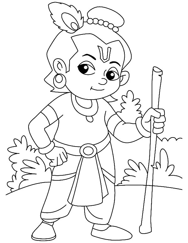 Krishna With Cow Coloring Page Sketch Coloring Page