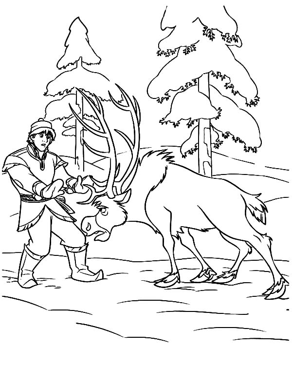 Sven Push Kristoff so He Help Princess Anna Coloring Pages