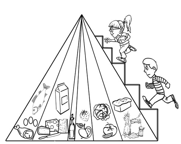 Two Kids Stepping on Food Pyramid Coloring Pages