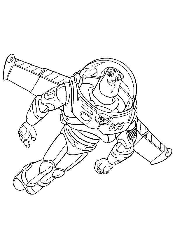Buzz Lightyear is Flying Using His Wing in Toy Story