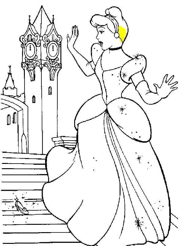 Cinderella Glass Slipper Coloring Page Sketch Coloring Page