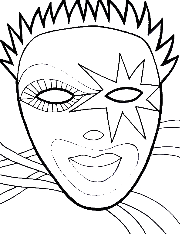 Wearing Mask On Mardi Gras Fest Coloring Page Download