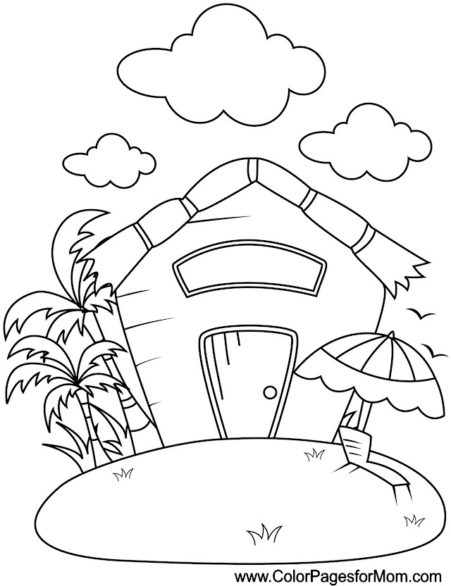Bucket And Shovel For Summer Vacation Coloring Pages