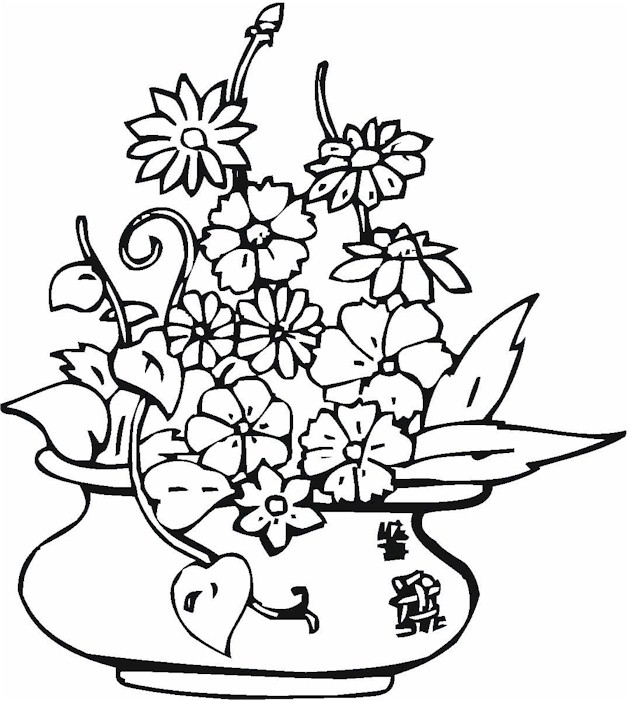 Coloring Sheets On Flowers In Vases Coloring Pages
