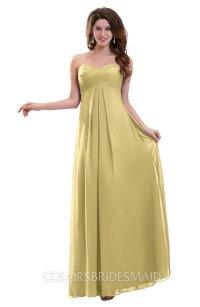 Gold Plain Sweetheart Sleeveless Backless Chiffon Floor ...