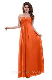 Tangerine Plain Sweetheart Sleeveless Backless Chiffon ...