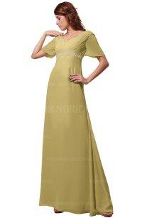 Gold Modest Short Sleeve Chiffon Floor Length Beading ...
