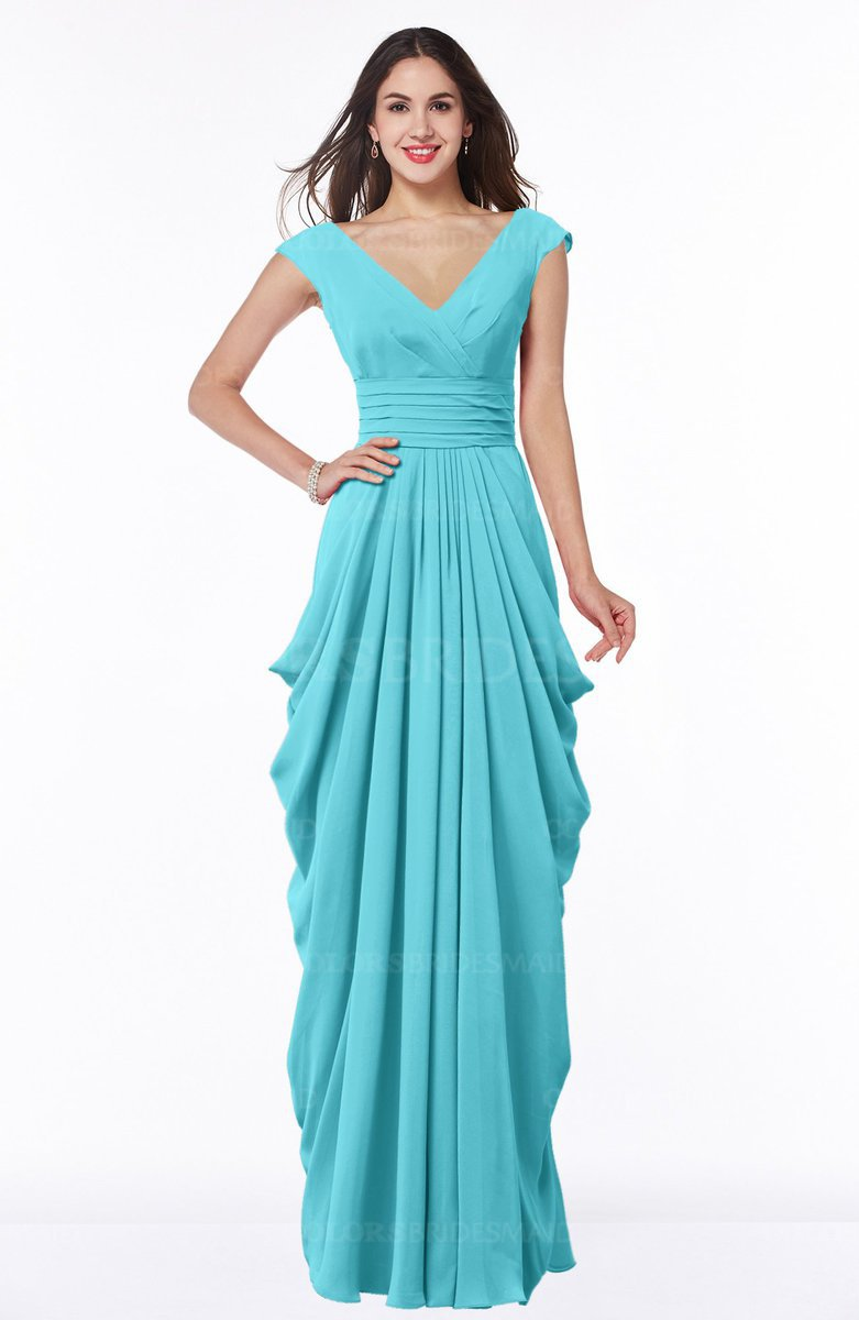 Turquoise Mature V Neck Short Sleeve Chiffon Floor Length