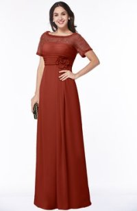 Bridesmaid Dresses With Sleeves Rust color - ColorsBridesmaid