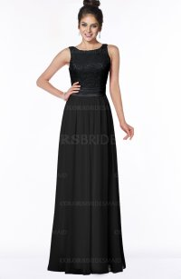 Black Elegant A-line Chiffon Floor Length Lace Bridesmaid ...