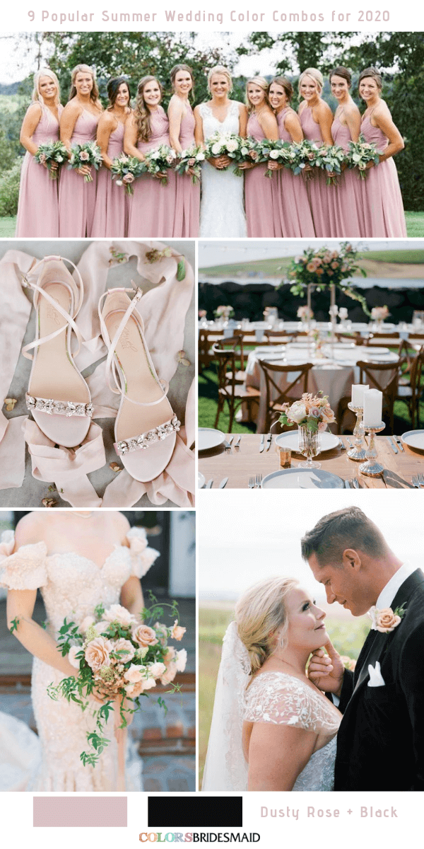 Popular Summer Wedding Color Combos for 2020- Dusty rose and Black