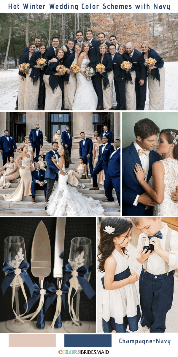 Bright Navy Blue And Champagne Winter Wedding Color Ideas