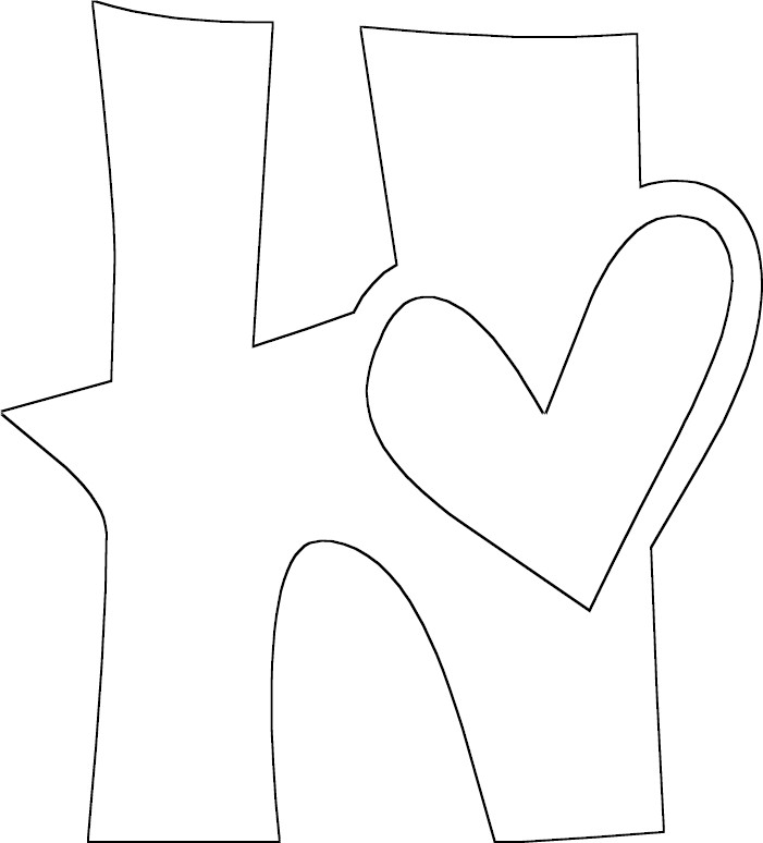 full letter h coloring page