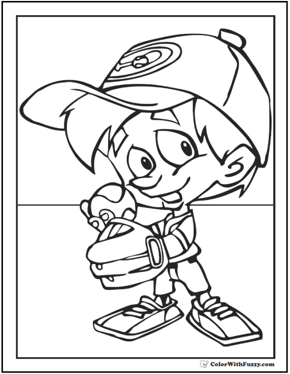 Baseball Coloring Pages Pitcher and Batter Sports Coloring