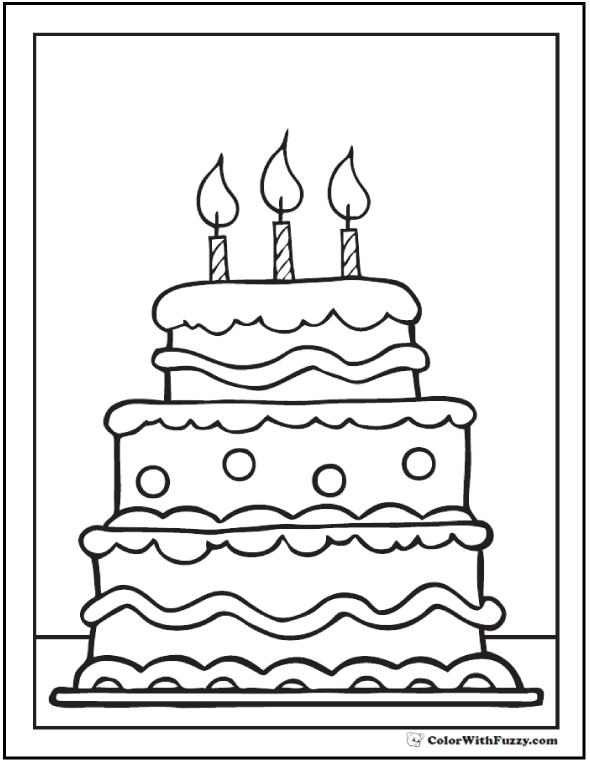 28+ Birthday Cake Coloring Pages: Customizable PDF Printables