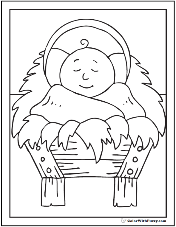 Christmas Coloring Picture Baby Jesus In Crib