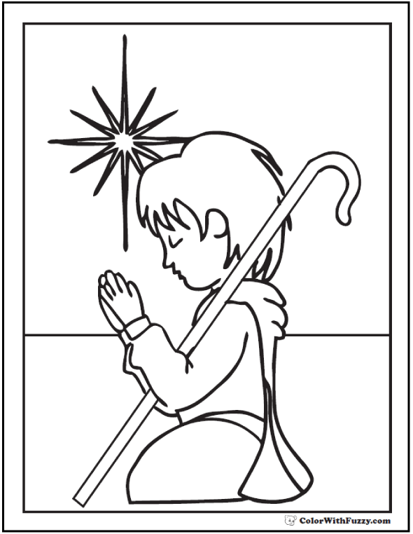 Christmas Shepherd Coloring Sheet