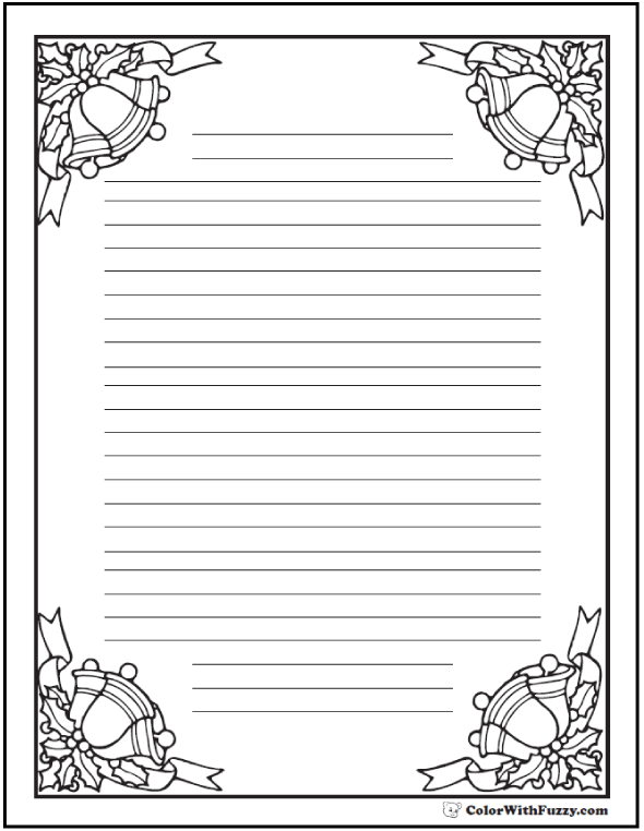 Coloring Pages Christmas Bells Writing Paper
