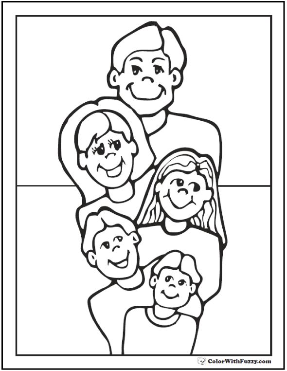 Family Father's Day Coloring Page: Dad, Mom, 3 Kids
