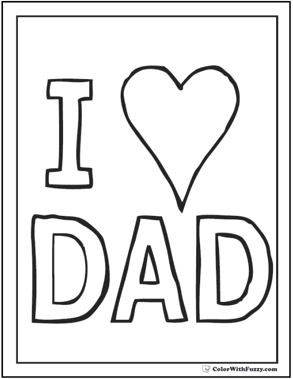 father's day coloring card i love dad!