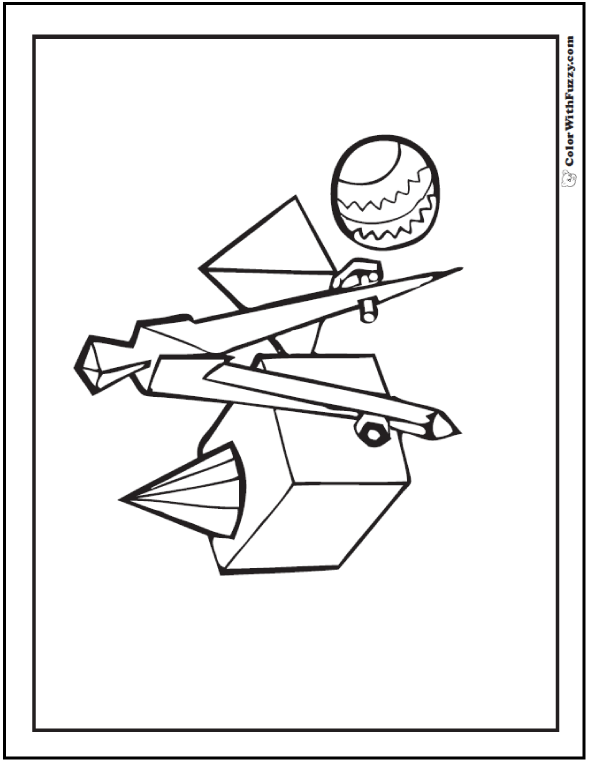 Geometric Coloring Sheets: Cube, Cone, Pyramid, Sphere