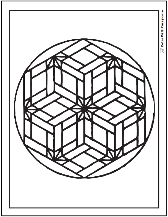 Geometric Design Coloring Pages: Flower Basket Pattern