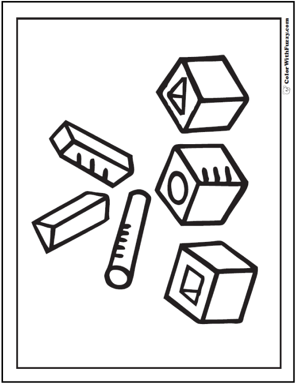 Geometric Shapes: Free Coloring Pages